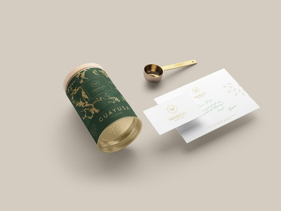 Nimboo Guayusa | Stationery design packaging green tin product food and drink food luxury gold graphic design branding design branding logo corporate design stationery guayusa tea