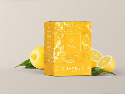 Nimboo Lemon Guayusa | Packaging Design box graphic design gold design corporate design branding food product yellow texture pattern lemon packagingdesign packaging tea logo