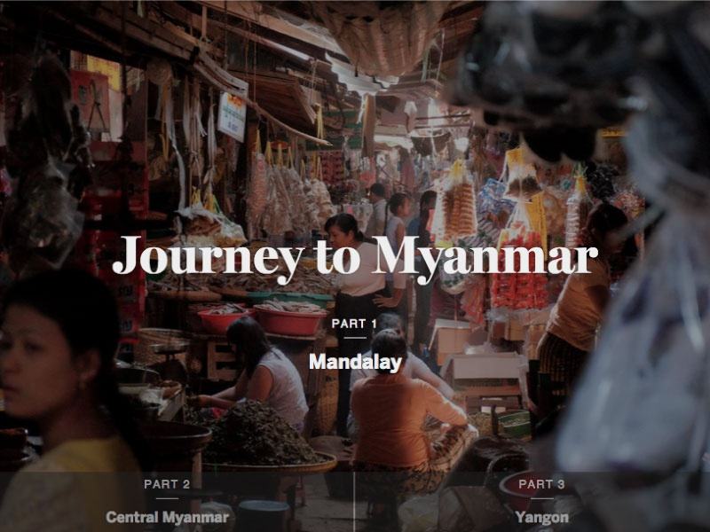 Journey to Myanmar photograph multimedia editorial design