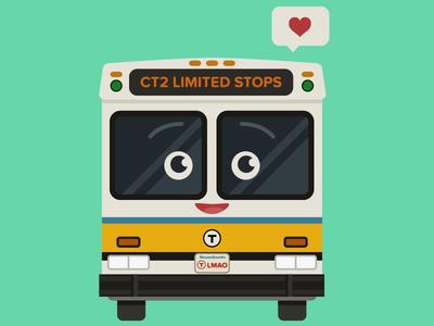 Happy little mbta bus bus illustration mbta