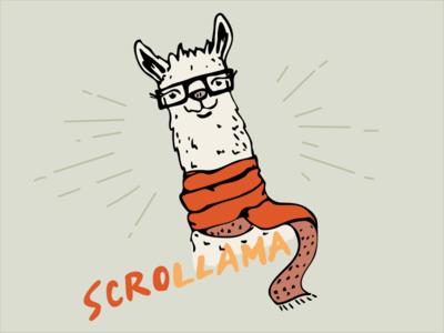 Scrollama logo llama illustration