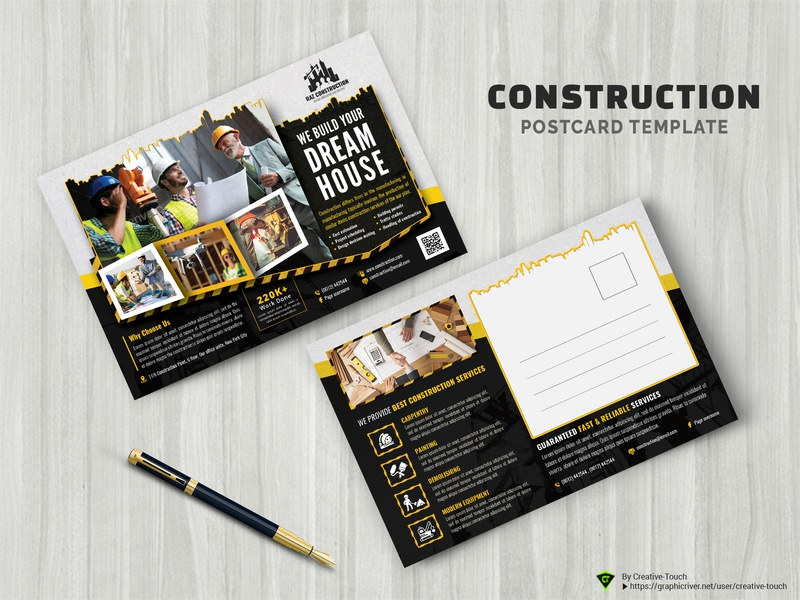 Construction Postcard Templates machinery leaflet industrial improvement home heavy hardware handyman handout flyer equipment engineering construction flyer construction company business building builder architecture advert