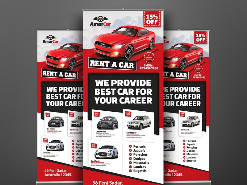 Rent A Car Roll Up Banner By Creative Touch On Dribbble