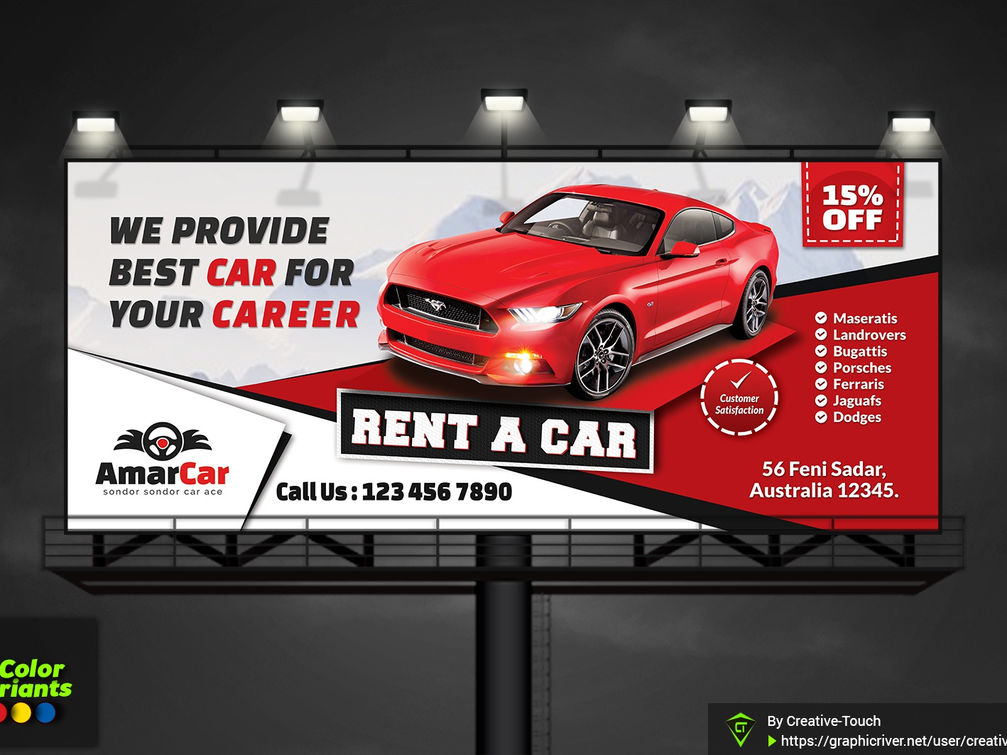 Rent A Car Billboard By Creative Touch On Dribbble