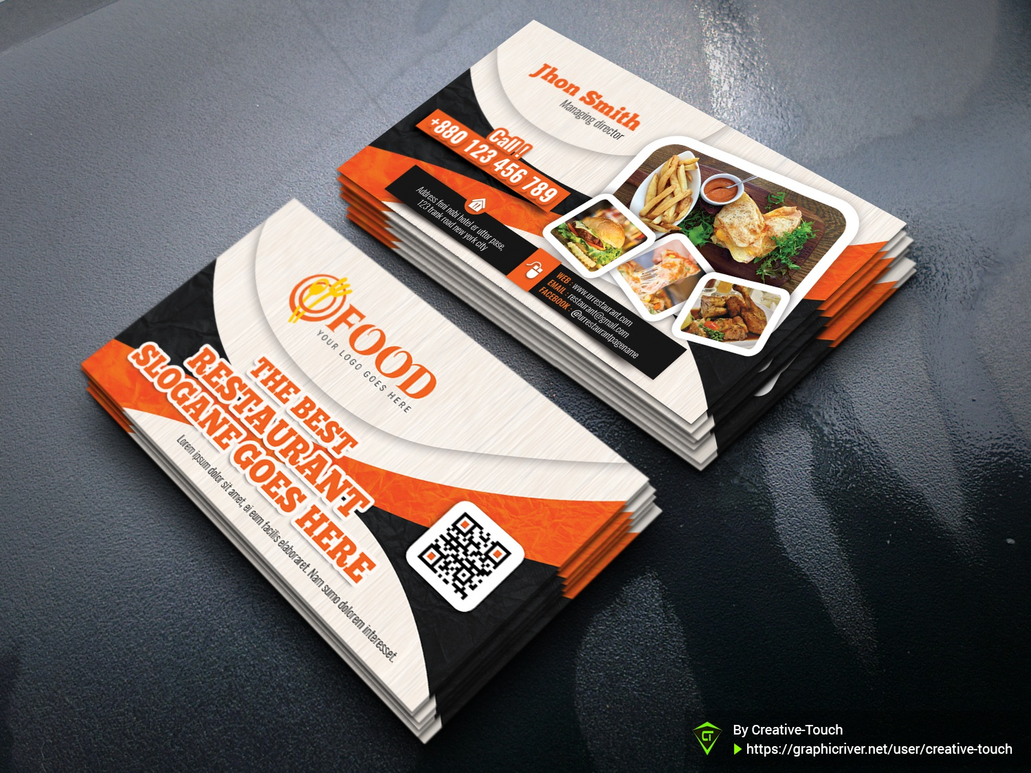 Restaurant Business Card Template By Creative Touch Dribbble