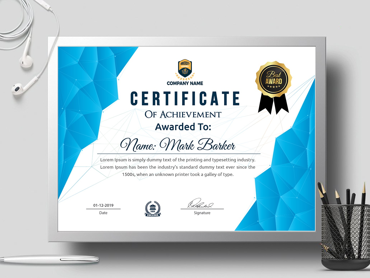 Certificate Template by Creative Touch on Dribbble