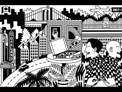 Culture Collage monoline blackandwhite illustration