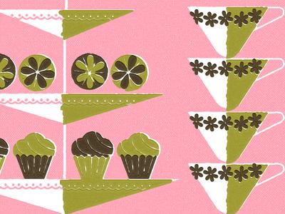 Tea Party! midcentury invitation birthday tea