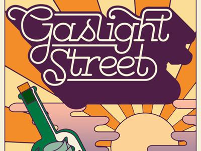 Gaslight Street monoline script logo poster