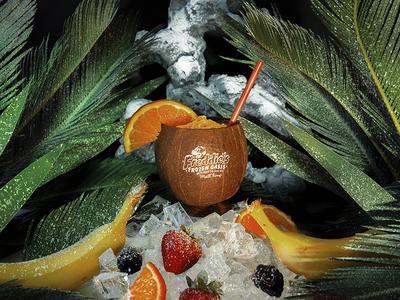 Freddie's Frozen Oasis refrescos smoothies tiki branding