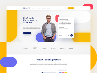 Website Design for ROI Hunter homepage clean geometric digital design online marketing roi hunter product marketing platform marketing landing page website ui web design
