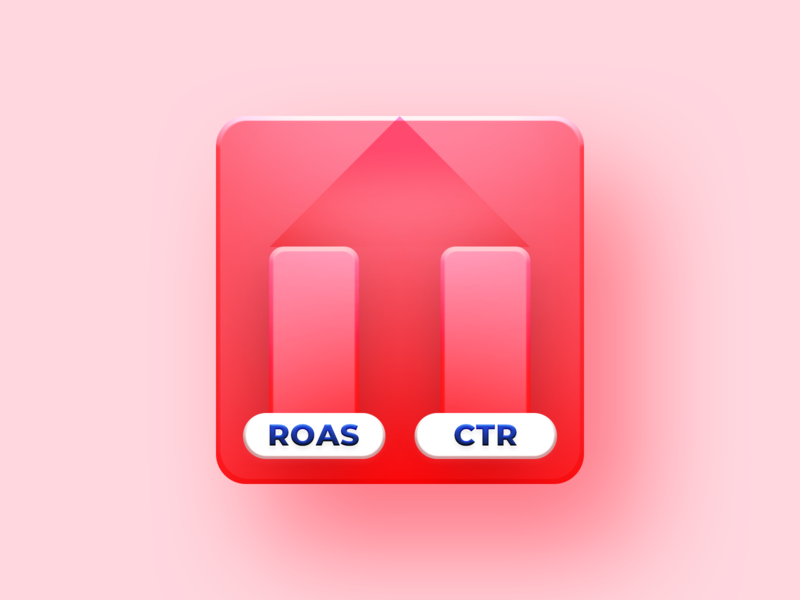 Increase ROAS and CTR icon vector simple branding b2b template editor pmp roi hunter marketing