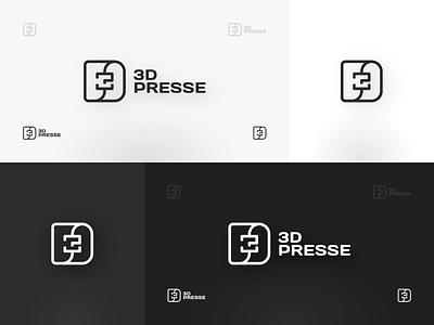 3Dpresse Logo simple 3d printing minimalistic logo design line design logo