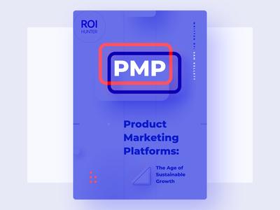 E-book Cover - PMP logo design typography branding vector illustration marketing roi hunter blue contrasting simple ebook cover print design ebook