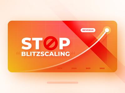 Stop Blitzscaling - Article Visual vector illustration revenue growth revenue e-commerce sustainability blitzscaling roi hunter