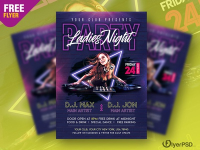 Ladies Club Party Flyer PSD
