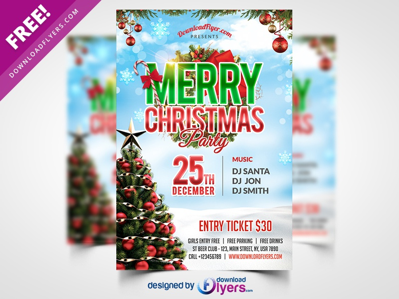 christmas party flyer psd template by flyer psd dribbble dribbble