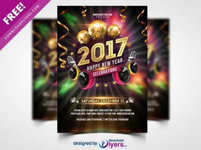 New Year 2017 Party Flyer Free PSD nye free nye 2017 2017 poster flyer psd happy new year freebie freepsd psd free psd flyer