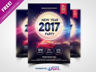 New Year 2017 Party Flyer Template Free Psd By Flyer Psd Dribbble