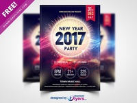 New Year 2017 Party Flyer Template Free PSD