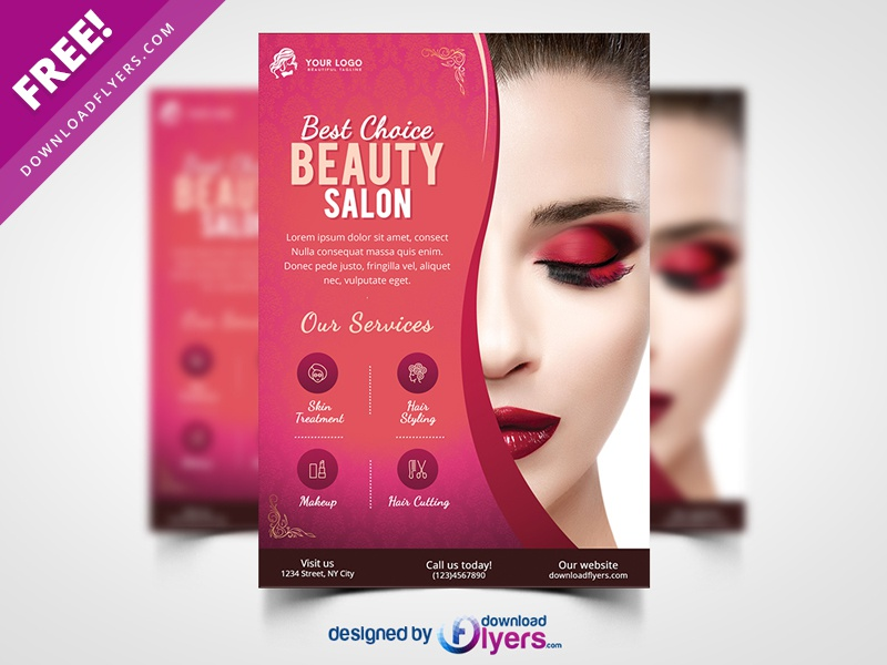 Beauty Salon Flyer Template Free PSD By