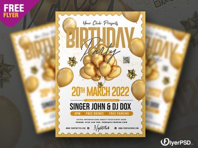 Birthday Night Party Flyer PSD