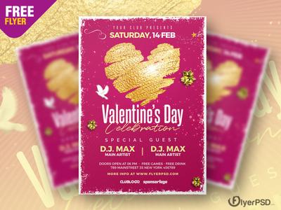 Valentines Day Celebration Flyer PSD