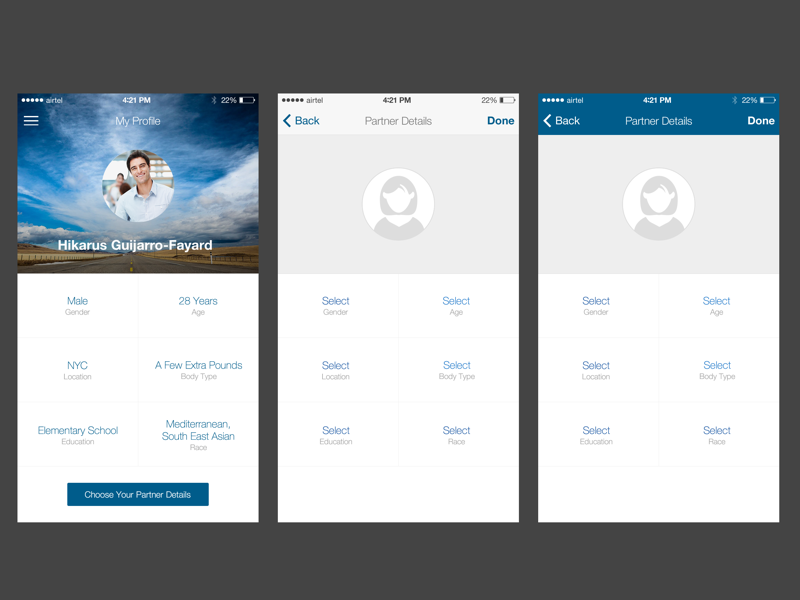 My Profile Options by f1studioz on Dribbble