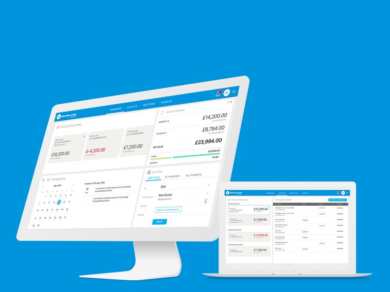 SBI UK NRA Banking Experience dashboard digital transformation web ux banking ux