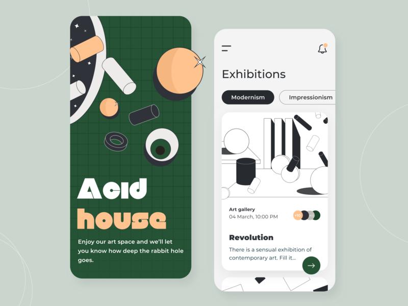 Art Space - Mobile app concept figma ratio golden grid event illustration sketch interface color palette contemporary modern portfolio exhibition ux ui gallery app art concept arounda