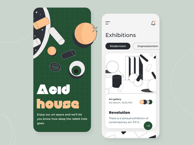 Art Space - Mobile app concept figma ratio golden grid event illustration sketch interface color palette contemporary modern portfolio exhibition ux ui gallery app art concept arounda