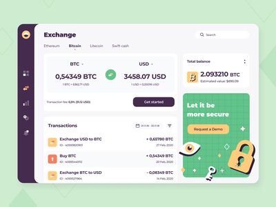 Cryptocurrency Exchange - Web app concept transaction blockchain saas application illustration sketch interface dashboard finance fintech exchange crypto currency wallet ux ui balance app web concept arounda
