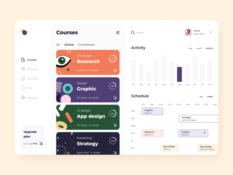 Courses schedule - Web app education classes event illustration notification interface schedule courses ui ux figma sketch platform technology dashboard management saas product design mobile arounda