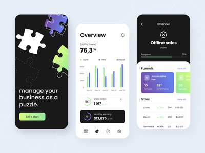 Business analytics - Mobile app income statistic business saas e-commerce platform sketch ux ui order interface mobile application service concept dashboard tracking graph analyse arounda