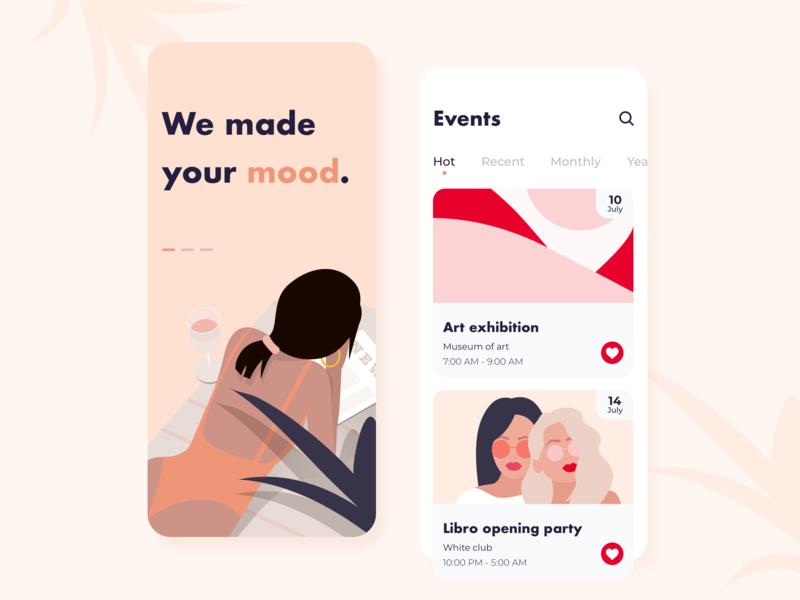 Event manager - Mobile app concept flat graphic arounda ratio golden grid girl application illustration sketch interface design party mood social ux ui event app mobile concept