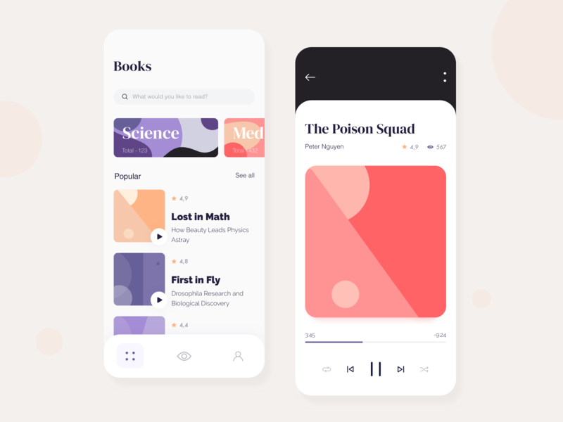 Books - Mobile app concept typography vector flat ratio golden grid application illustration sketch interface gallery reading audio library ux ui book app mobile concept arounda