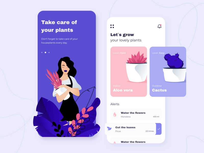 Plants - Mobile app concept arounda alert ratio golden grid application illustration sketch interface schedule notification list houseplant nature leaf ux ui plant app mobile concept