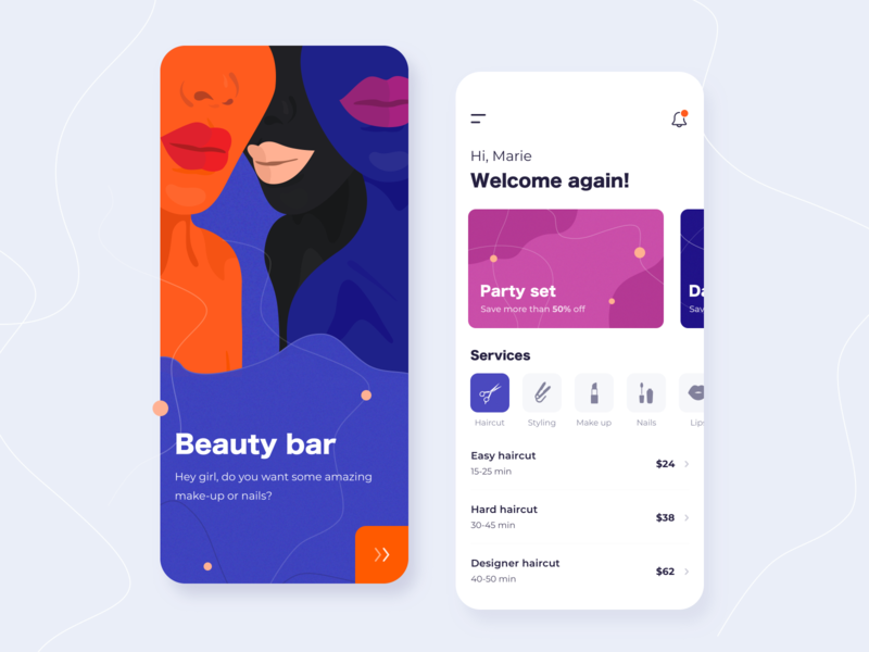 Beauty bar - Mobile app concept salon ratio golden grid application illustration sketch interface lips notification girls style makeup nails ux ui beauty app mobile concept arounda