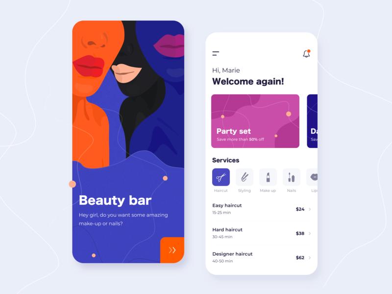 Beauty bar - Mobile app concept salon ratio golden grid application illustration sketch interface lips notification girls style makeup nails ux ui beauty app mobile concept arounda