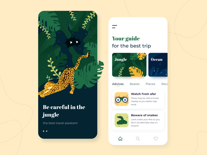 Travel assistant - Mobile app concept trip ratio golden grid advisor illustration sketch interface color palette plants leopard jungle guide ux ui travel app assistant concept arounda