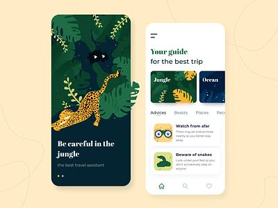 Travel assistant - Mobile app concept trip ratio golden grid advisor illustration sketch interface color palette plants leopard jungle guide ux ui travel app assistant concept arounda