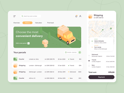 Delivery - Web app concept figma ratio golden grid advisor illustration sketch interface color palette courier shipping parcel food delivery ux ui delivery app tracking concept arounda