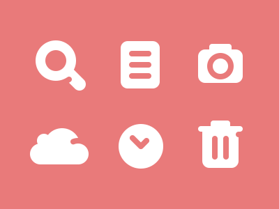 Some Icons icons magnify document camera cloud clock trash