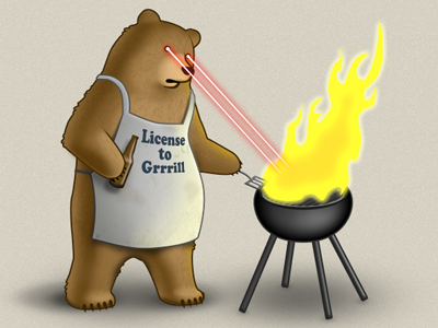 Grrrrrill bear bbq barbecue laser fire illustration