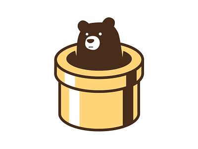 2 Colour Bear bear tunnelbear icon branding tunnel illustration