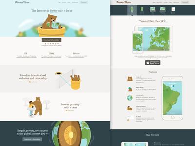 New TunnelBear Website  illustration apps ios bear bears landing homepage website