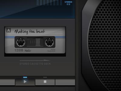 Boom Box stereo cassette speaker illustration radio tape deck