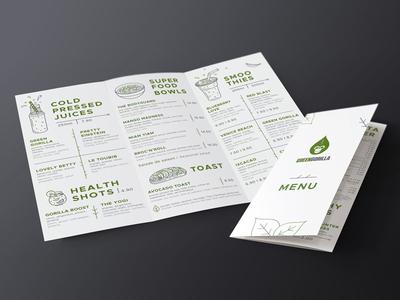 "Menu for healthy cafes ""Green Gorilla"" in Switzerland"