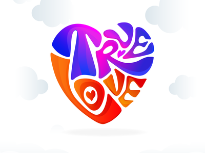 Colorful True Love true love lovers love logo colors colours font design type typography ads ads banner valentine day valentine lovecraft vector illustration love true colorful logo illustration graphic design