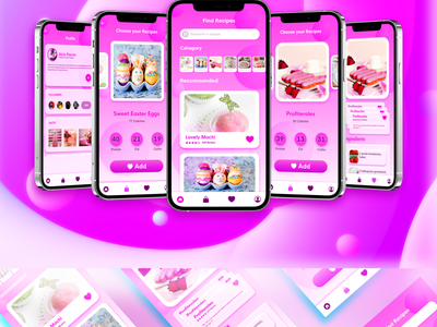 Recipe App Ux/Ui Design sweet shop app iphone app button design app icon best app design ecommerce app ecommerce shop app cake shop pink gorgeous recipe app app design app ui graphic design colorful uidesign illustration design ui